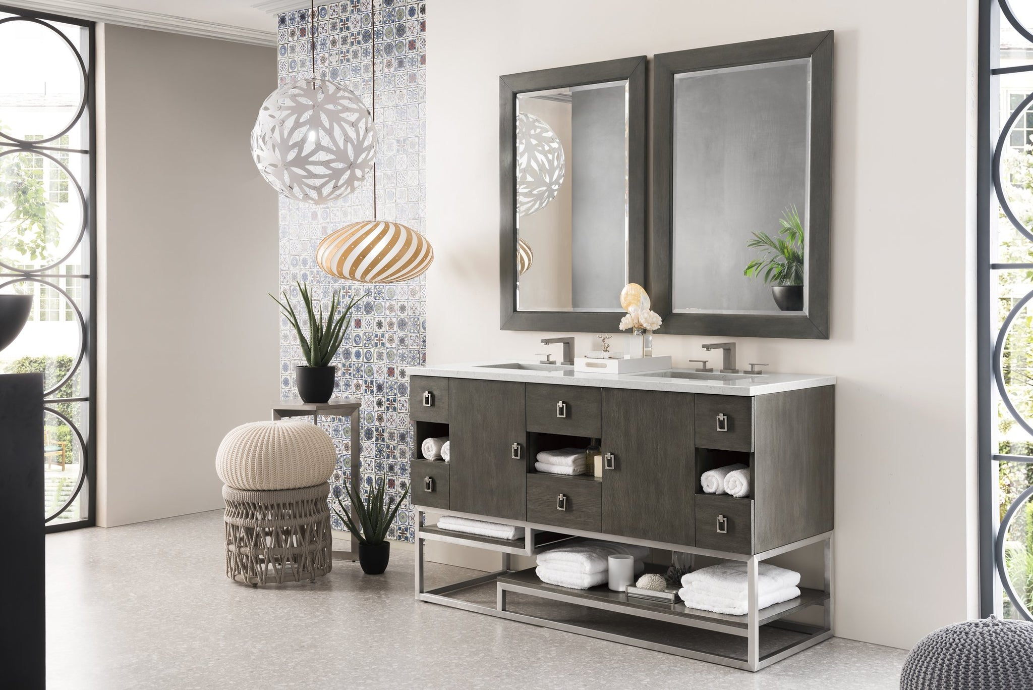 "Sonoran 60"" Double Vanity, Silver Oak Double bathroom Vanity James Martin Vanities"