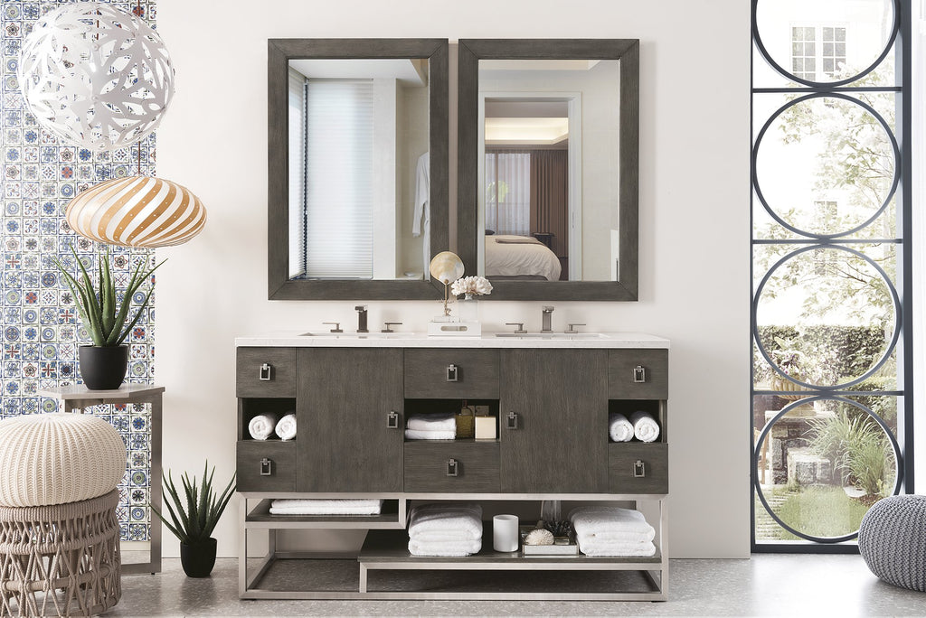 "Sonoran 60"" Double Bathroom Vanity, Silver Oak"