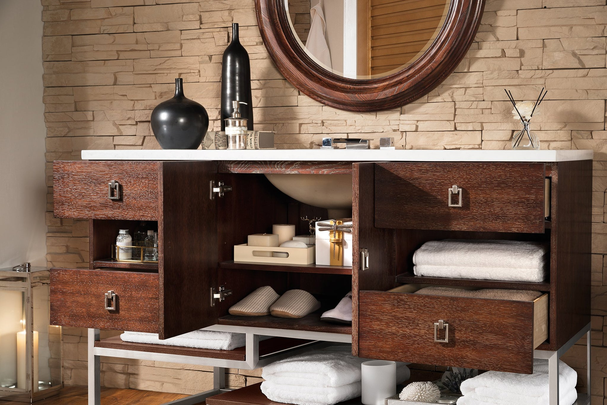 "Sonoran 60"" Single Vanity, Coffee Oak Single Bathroom Vanity James Martin Vanities"
