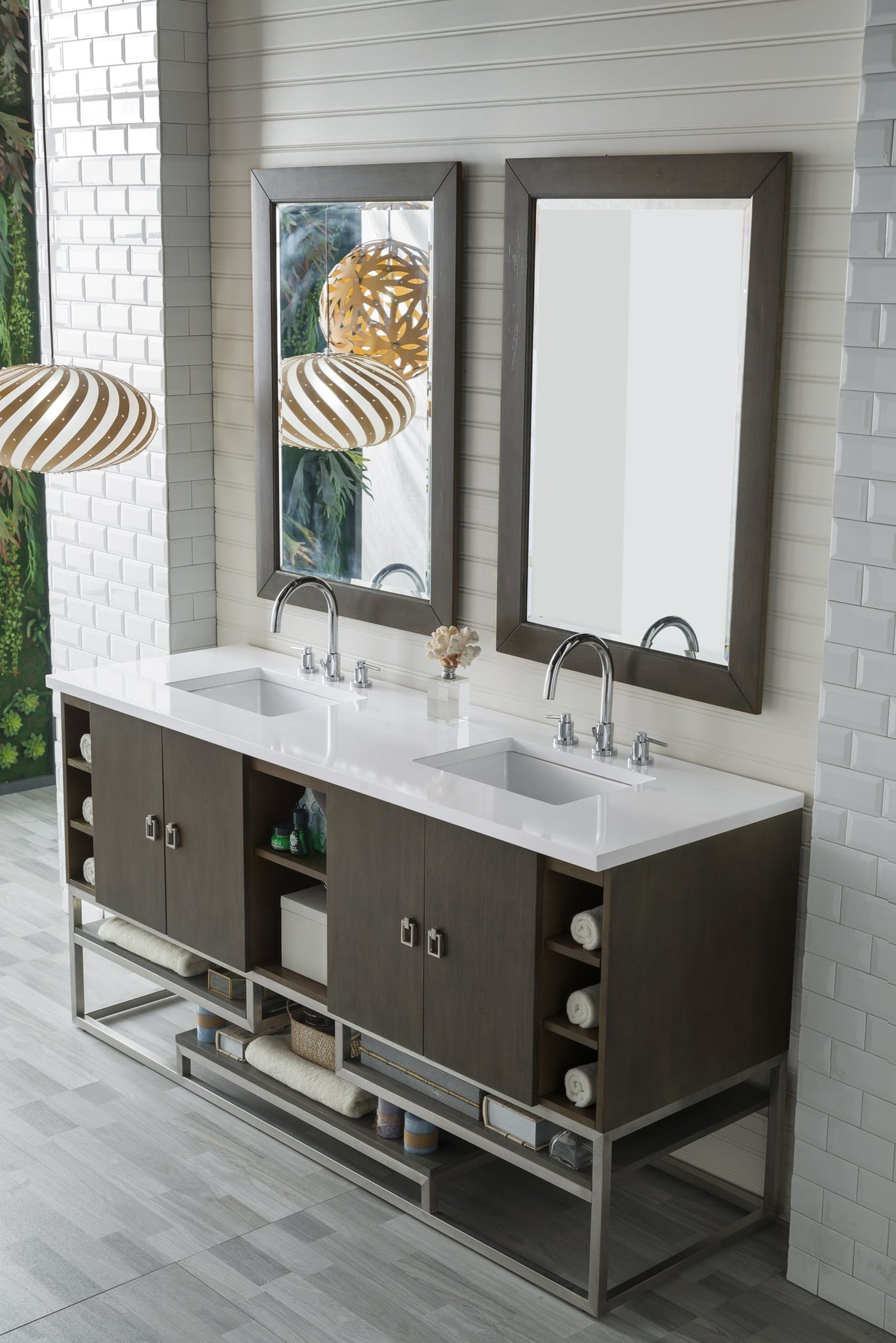 "Sonoran 72"" Double Vanity, Silver Oak Double bathroom Vanity James Martin Vanities"