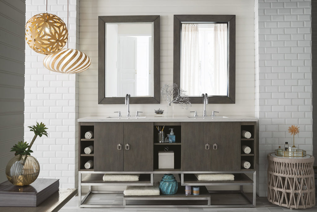 "Sonoran 72"" Double Bathroom Vanity, Silver Oak"