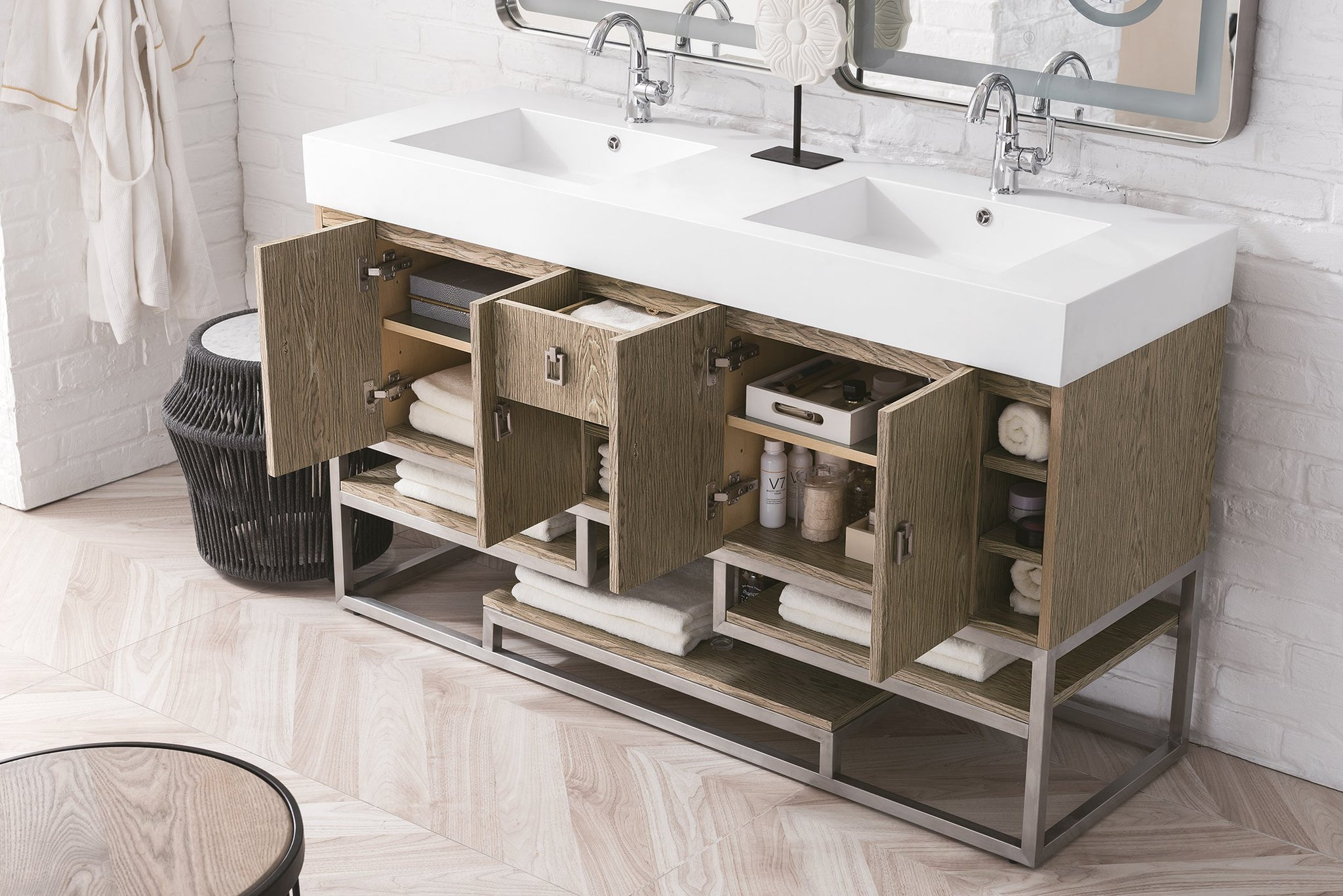 "Tahoe 59"" Double Vanity, Champagne Tiger Double bathroom Vanity James Martin Vanities"