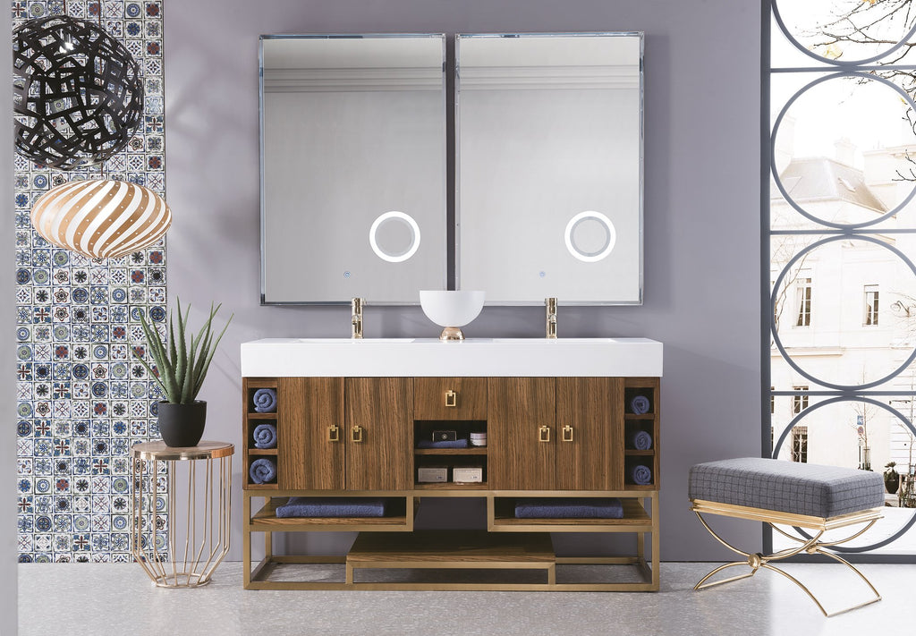 "Tahoe 59"" Double Bathroom Vanity, Natural Zebrano Wood"