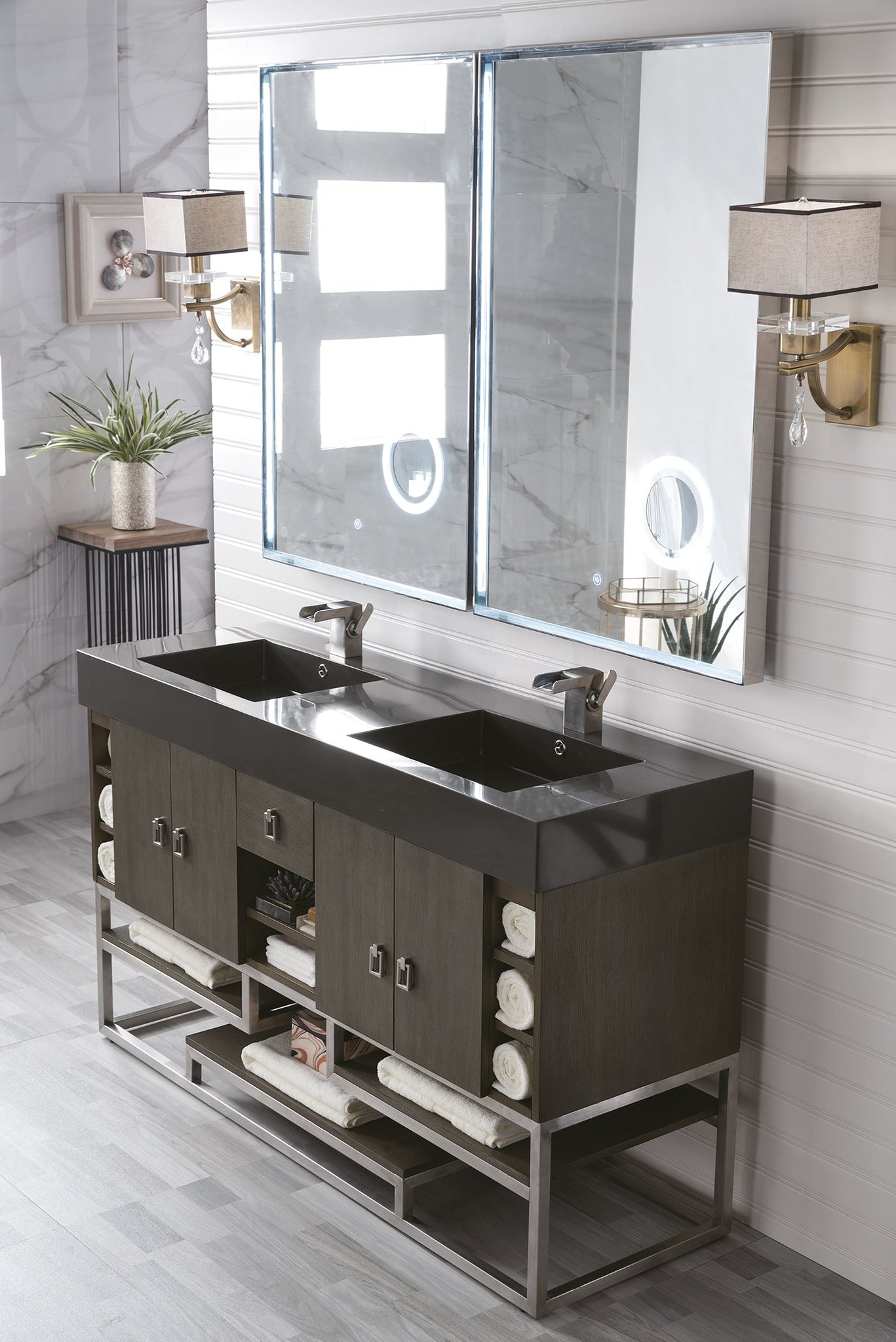 "Tahoe 59"" Double Vanity, Silver Oak Double bathroom Vanity James Martin Vanities"