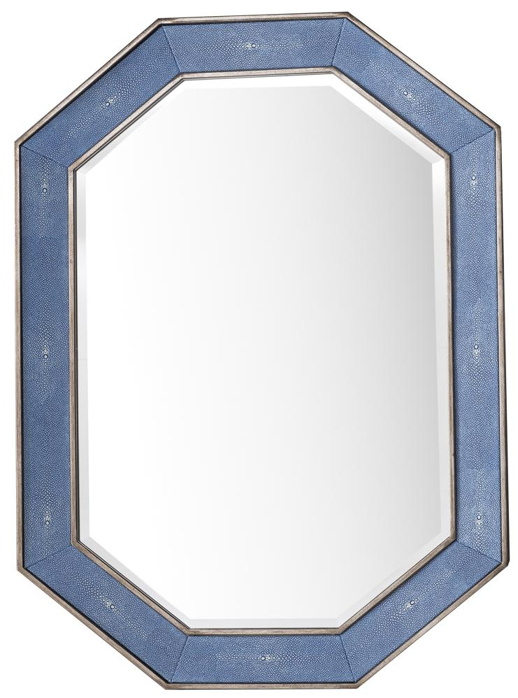 "Tangent 30"" Mirror, Silver with Delft Blue"