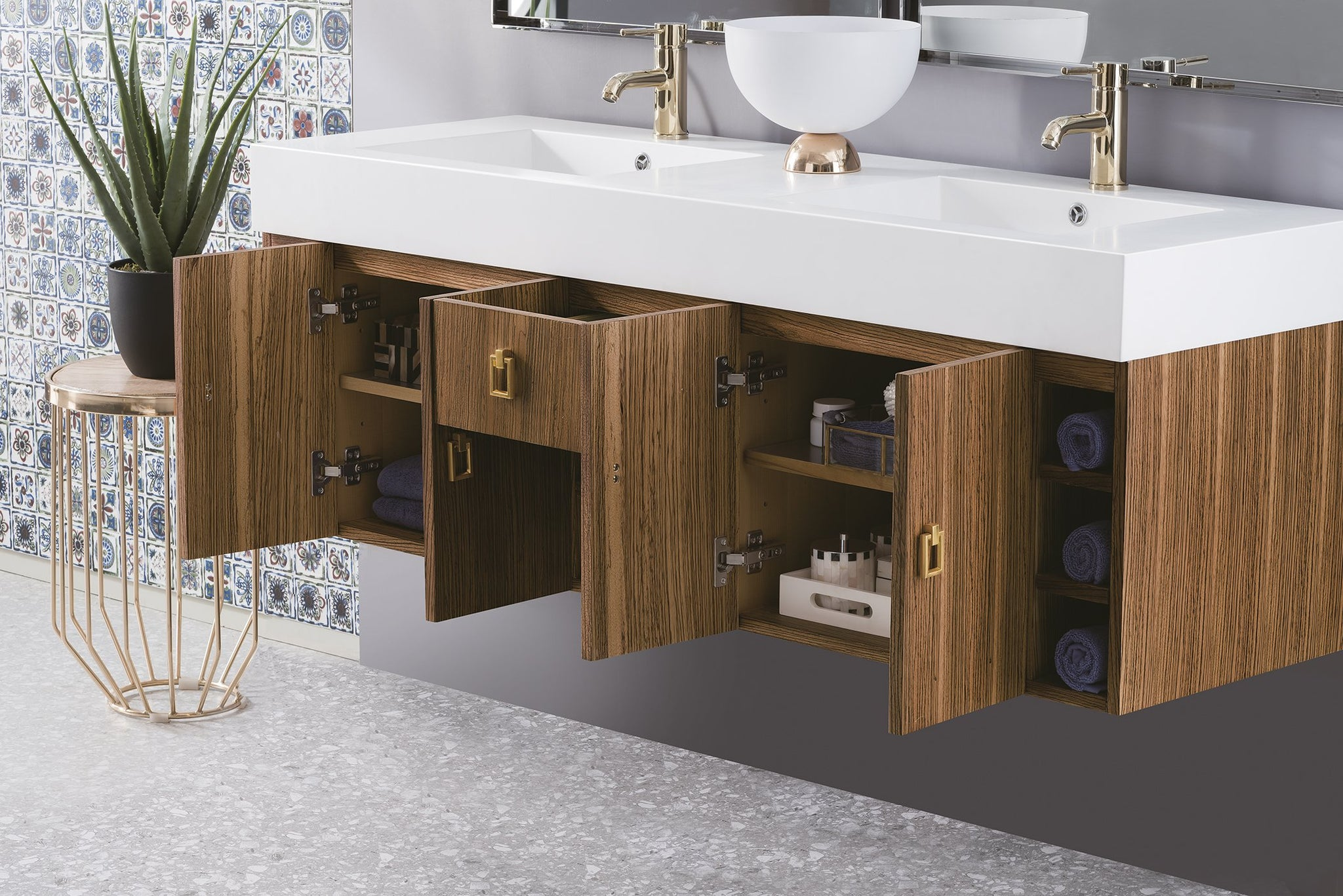 "Tiburon 59"" Double Vanity, Natural Zebrano Wood Double bathroom Vanity James Martin Vanities"