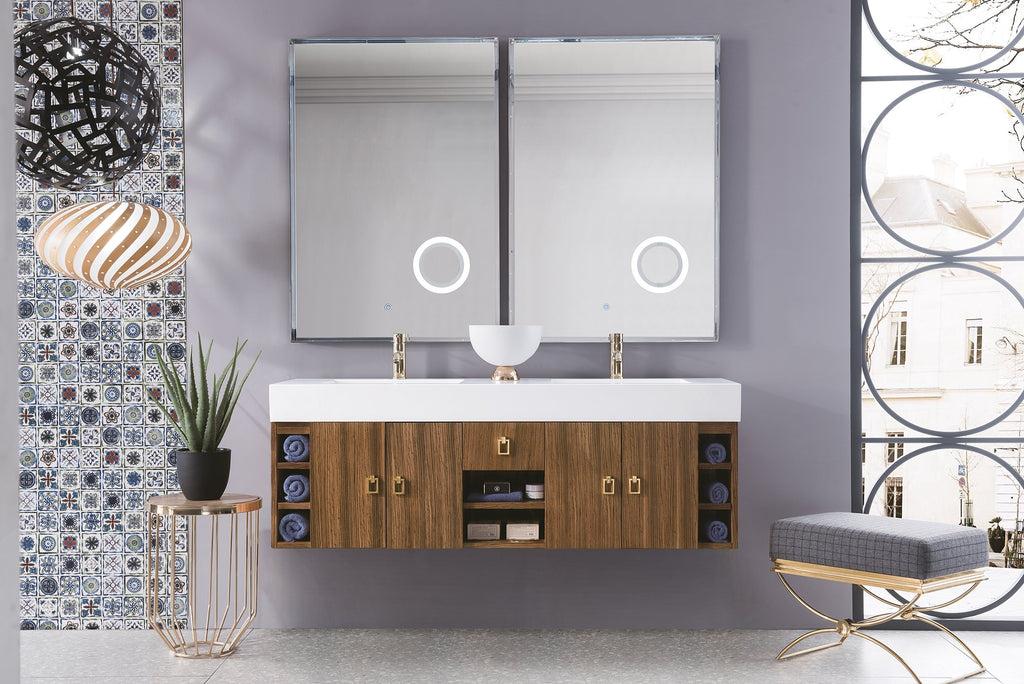 "Tiburon 59"" Double Bathroom Vanity, Natural Zebrano Wood"