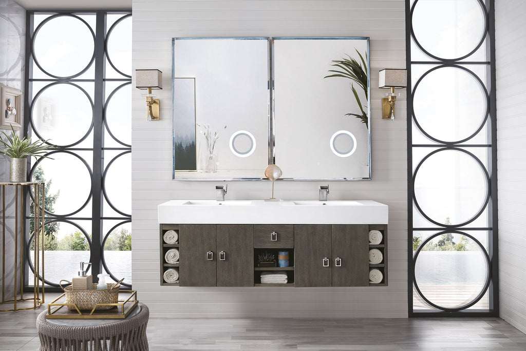 "Tiburon 59"" Double Bathroom Vanity, Silver Oak"