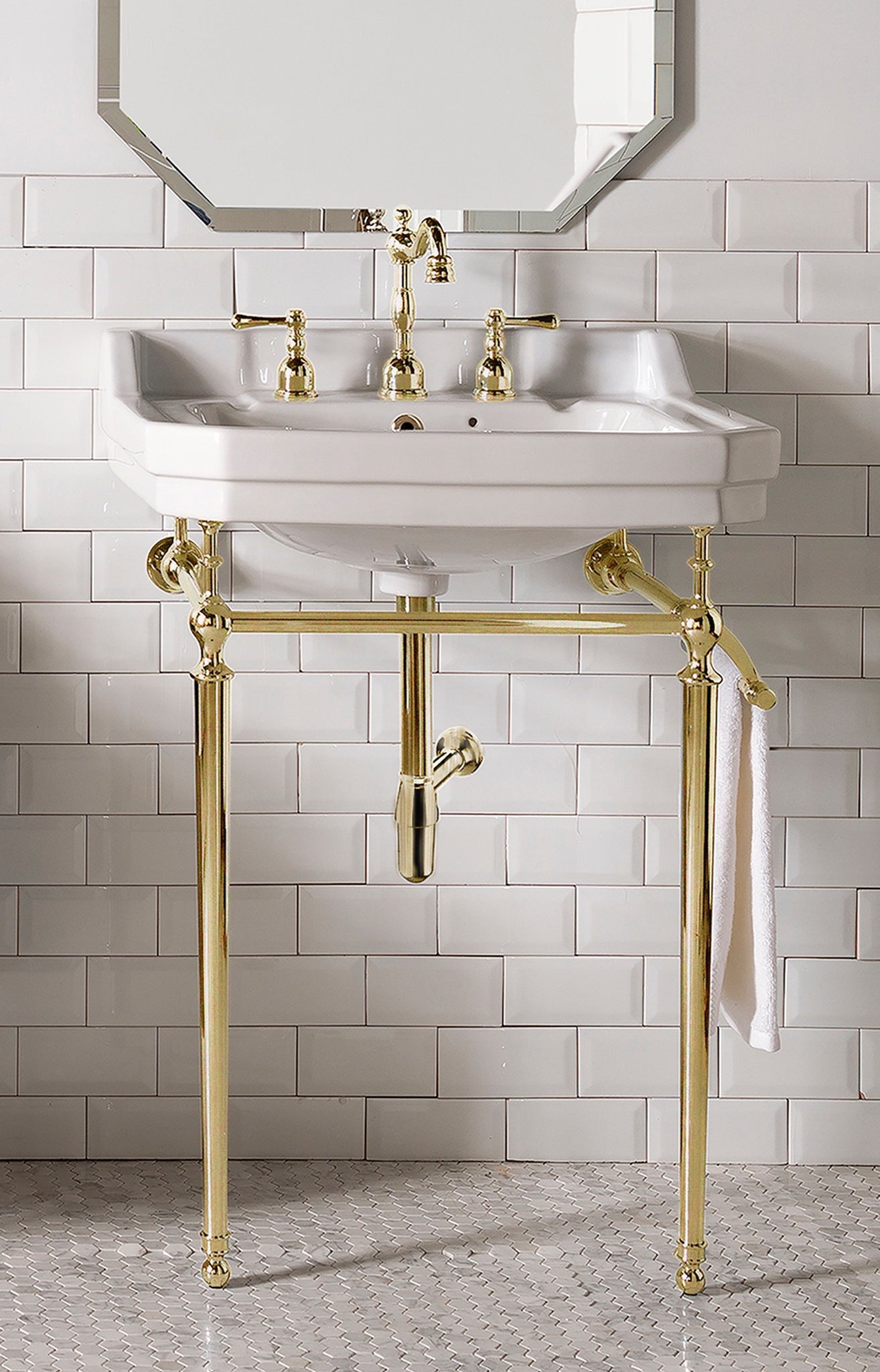 "Wellington 24"" Single Bathroom Vanity Brass Finish Single Bathroom Vanity James Martin Vanities"