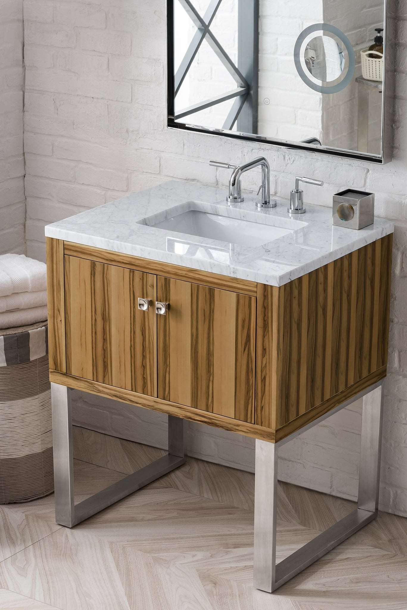 "Westlake 30"" Single Vanity, Natural Applewood Single Bathroom Vanity James Martin Vanities"