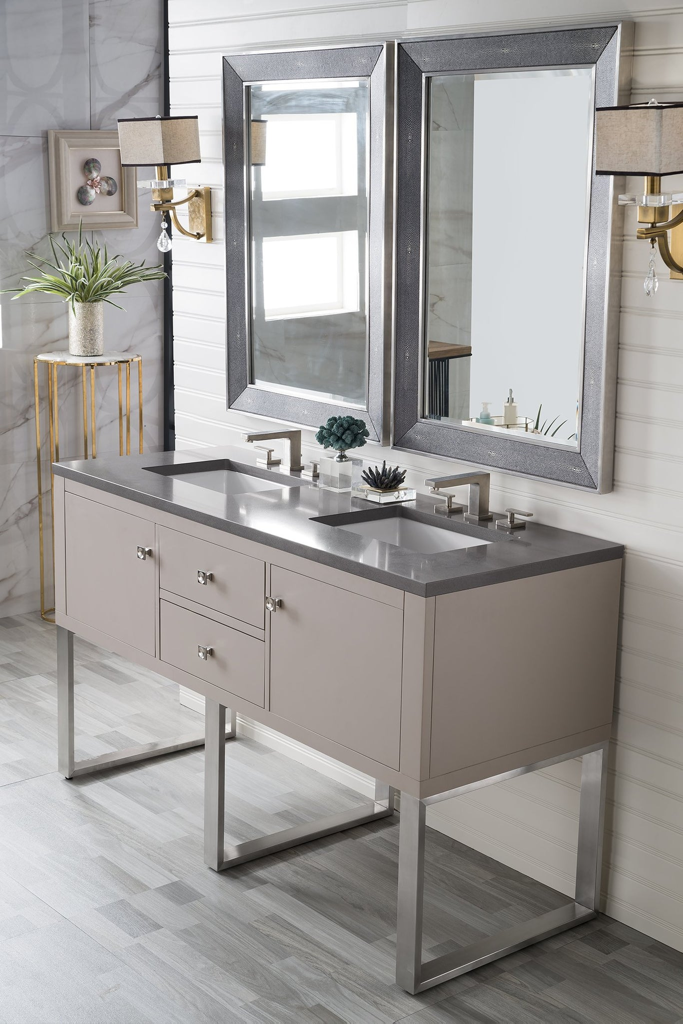 "Westlake 60"" Double Vanity, Mountain Mist Double bathroom Vanity James Martin Vanities"