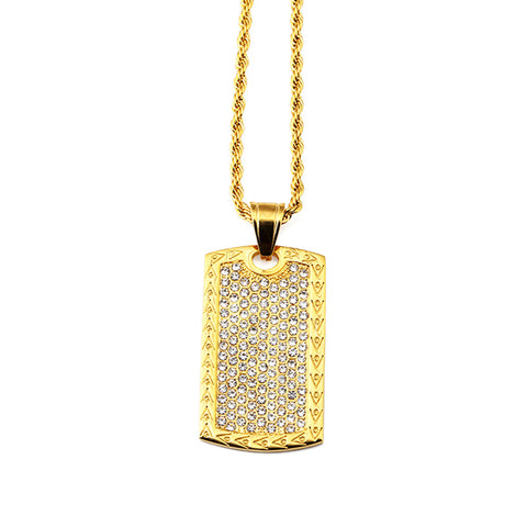 Rare jewelers jewelry under 75 iced out gold dog tag pendant necklace aloadofball Choice Image