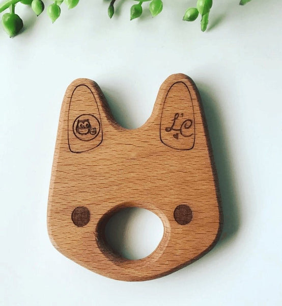 Natural Wooden Bunny Teether Toy