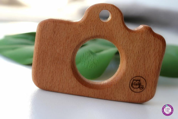 Natural Wooden Camera Teether toy