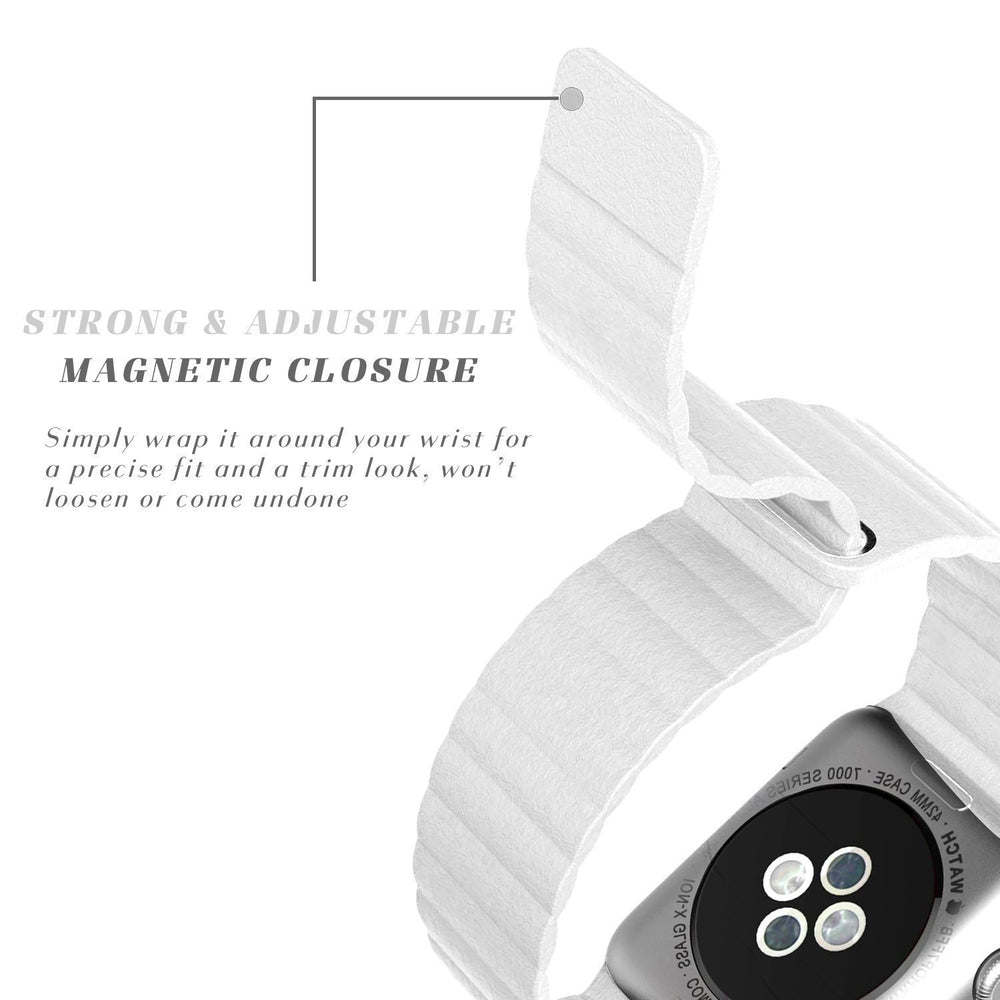White Leather Loop Strap 42mm for Apple Watch (ONLY STRAP NOT WATCH)