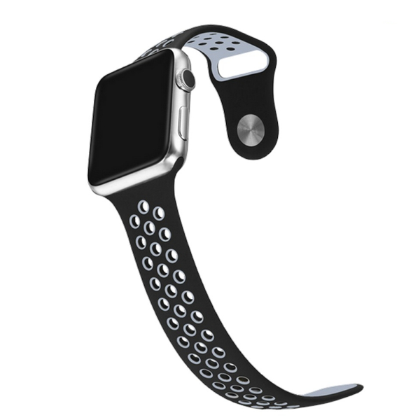 Perforated Sport Band Strap- Black Grey for  Apple Watch (ONLY STRAP NOT WATCH)