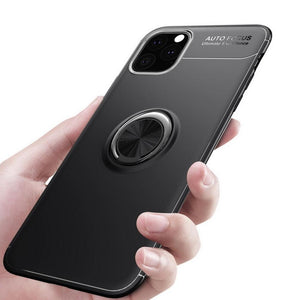 Metallic Finger Ring Holder Matte Case Cover For iPhone 11 Pro Max