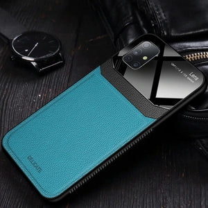 Galaxy A71 Sleek Slim Leather Glass Case