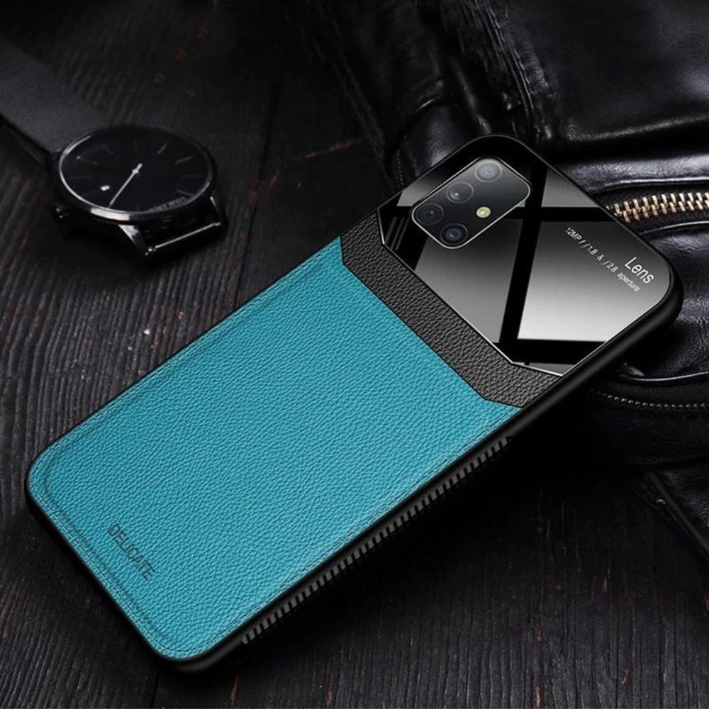 Galaxy M Series Sleek Slim Leather Glass Case