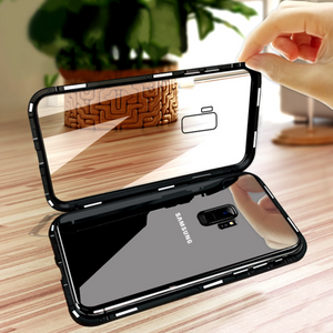 Galaxy S9 Electronic Auto-Fit Magnetic Transparent Glass Case