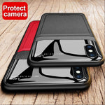 iPhone X Series Sleek Slim Leather Glass Case