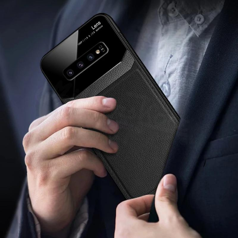 Premium Galaxy S10 Sleek Slim Leather Glass Case