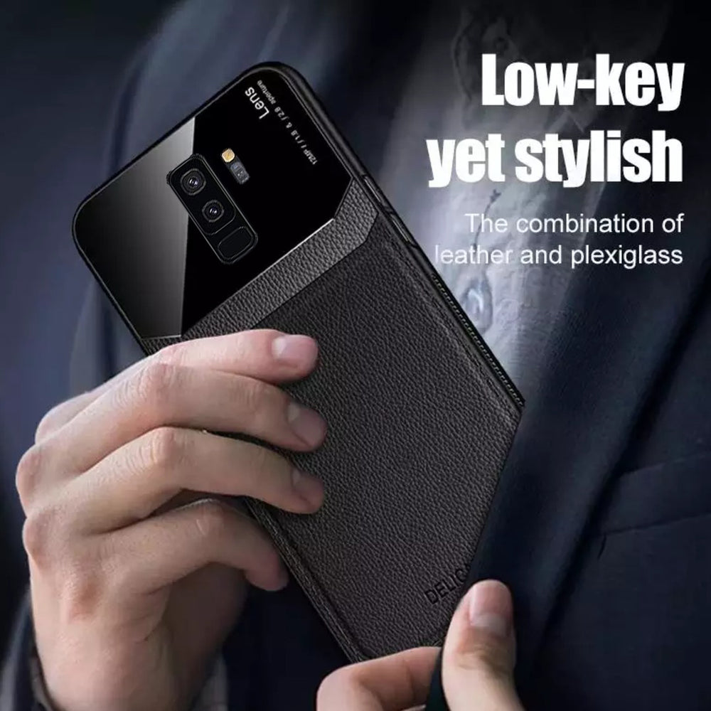 Load image into Gallery viewer, Galaxy S9 Plus Sleek Slim Leather Glass Case