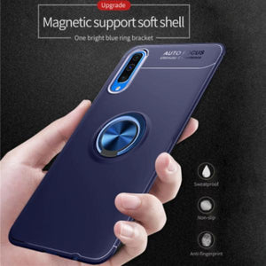 Galaxy A70s Metallic Finger Ring Holder Matte Case