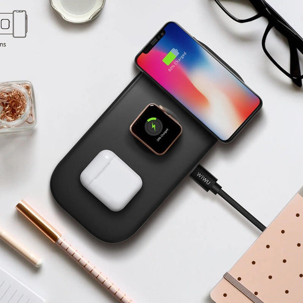 MK ® WiWU Power Air 3 in 1 Wireless Charging Pad