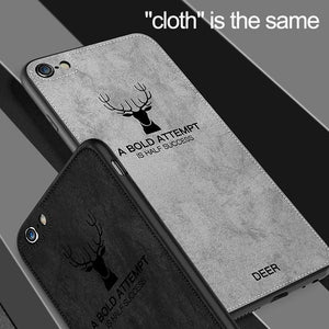 Load image into Gallery viewer, iPhone 8 3D Deer Print Cloth Textured Inspirational Soft Case