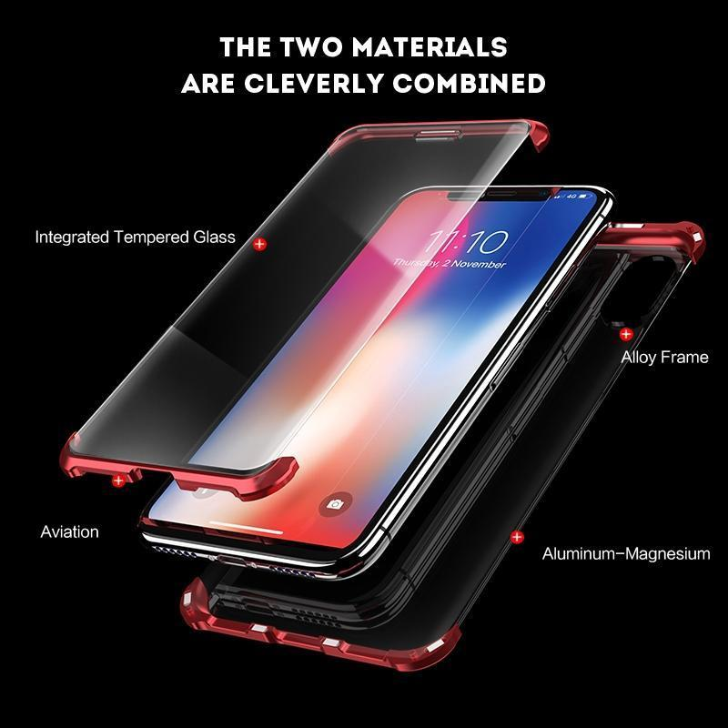 iPhone X Frameless  Auto-Fit (Front+ Back) Magnetic Glass Case