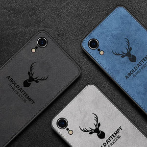 iPhone XR 3D Deer Print Cloth Textured Inspirational Soft Case