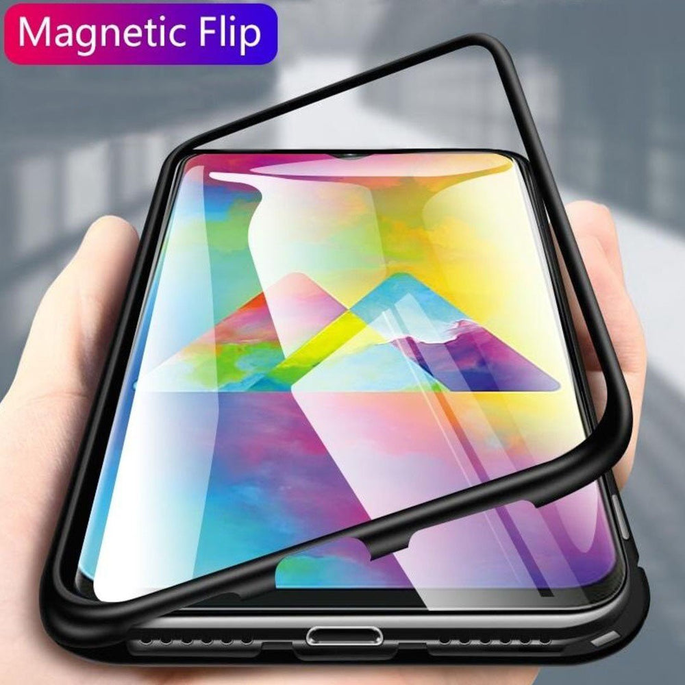 Galaxy A30s Electronic Auto-Fit Magnetic Transparent Glass Case