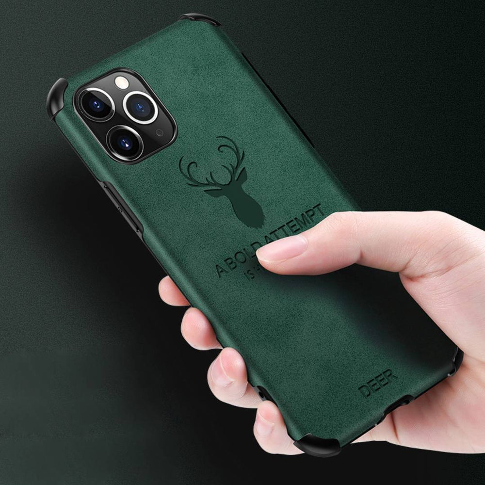 iPhone 11 Series Shockproof Deer Leather Texture Cover
