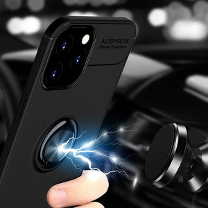 Load image into Gallery viewer, iPhone 12 Pro Metallic Finger Ring Holder Matte Case
