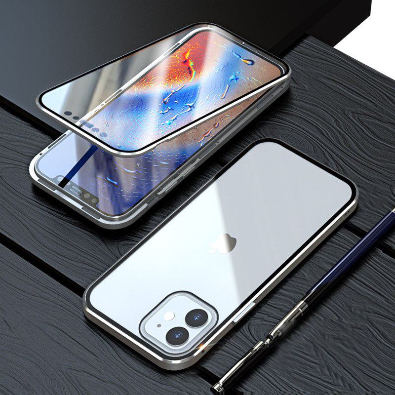 iPhone 12 Mini Electronic Auto-Fit (Front+ Back) Glass Magnetic Case