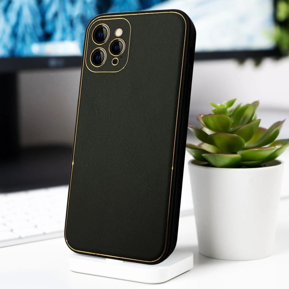 iPhone 11 Series Leather Textured Gold Plated Case
