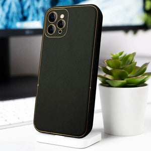 Load image into Gallery viewer, iPhone 11 Pro Max Leather Textured Gold Plated Case