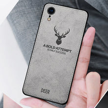 Load image into Gallery viewer, iPhone XR 3D Deer Print Cloth Textured Inspirational Soft Case