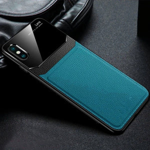 iPhone XR Sleek Slim Leather Glass Case