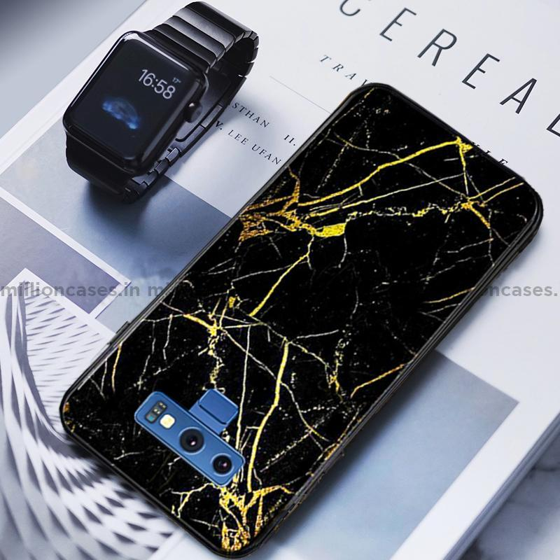 Galaxy Note 9 Gold Dust Texture Marble Glass Case
