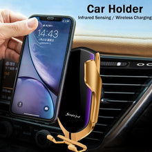 Load image into Gallery viewer, Gold-Plated Auto-Clamp Magnetic Wireless Charger Mount