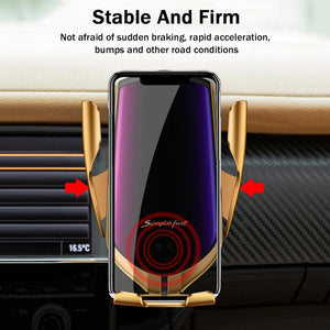 Gold-Plated Auto-Clamp Magnetic Wireless Charger Mount