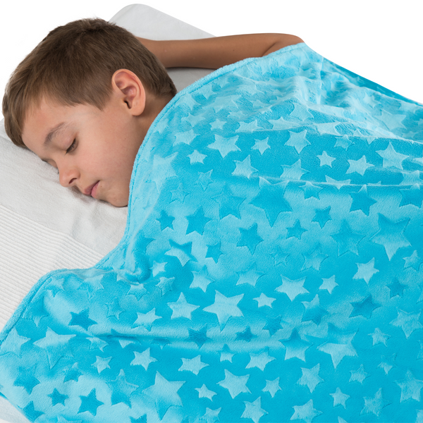 "Two-sided Kids Duvet Cover for Weighted Blanket Hot/Cold Sleepers - 41"" x 60"" Turquoise With Stars"