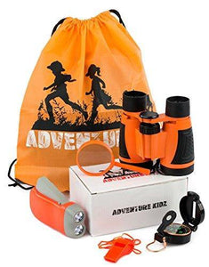 Outdoor Exploration Kit, Children's Toy Binoculars, Flashlight, Compass, Whistle, Magnifying Glass, Backpack.