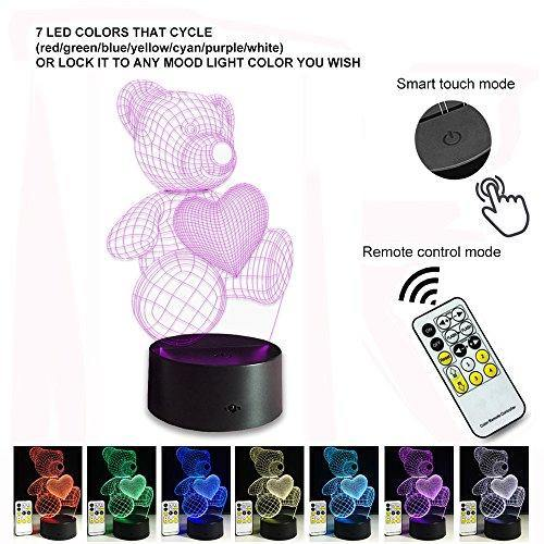 Night Lights for Kids Teddy Bear 7 Colors Change with Remote 3D
