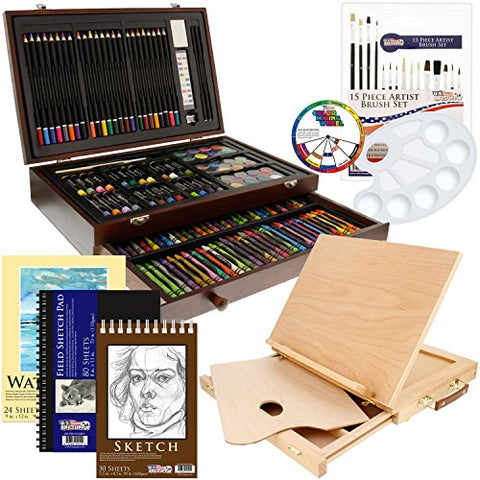 US Art Supply 163 Piece-Premium Mega Wood Box Art, Painting & Drawing Set