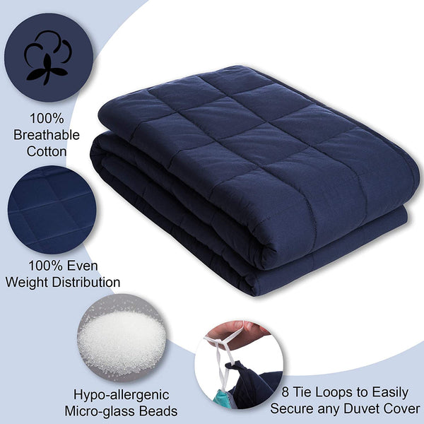 Weighted Blanket for Teens - 10 lbs Navy Blue Soft Cotton Blankets 48