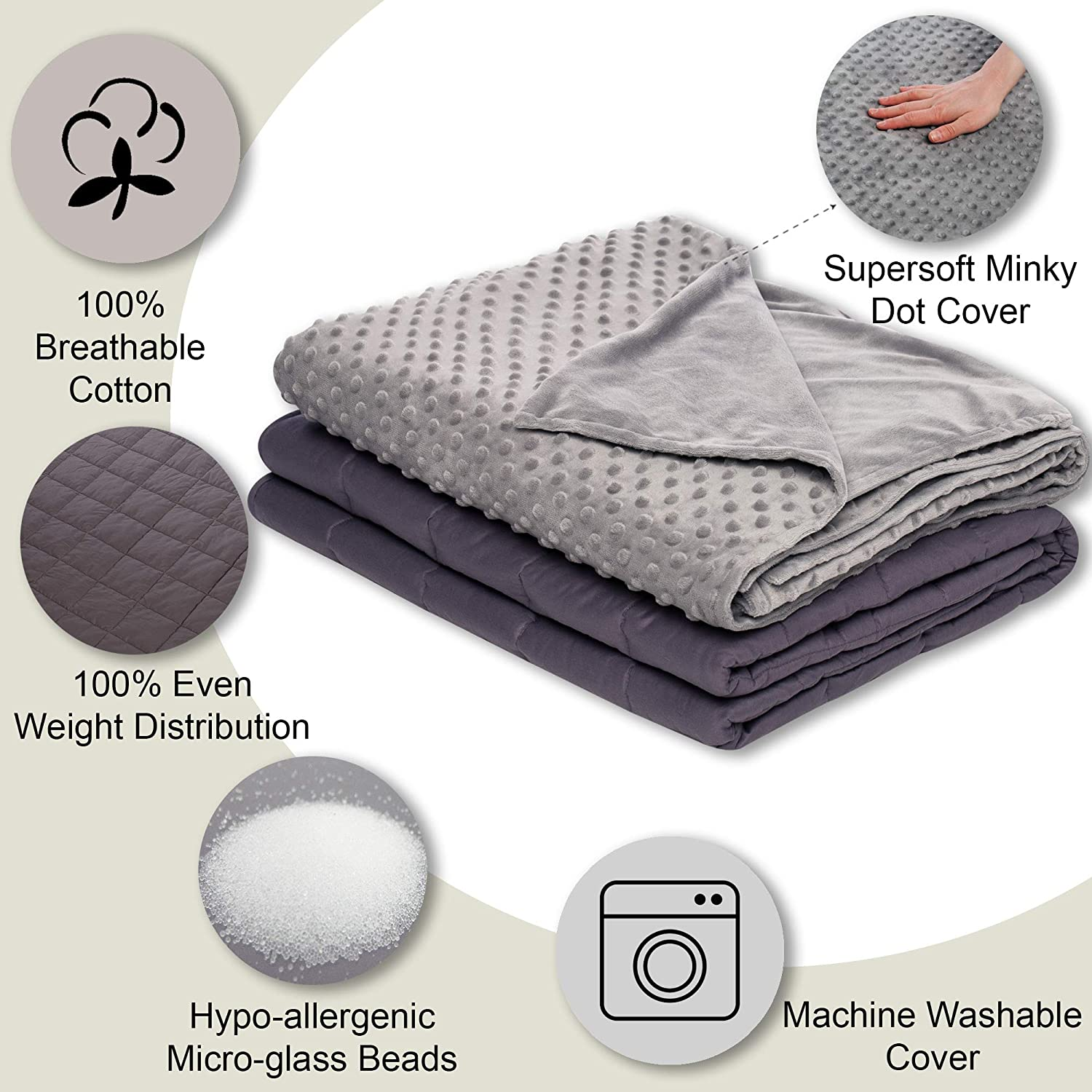 12 lbs Weighted Blanket with Removable Cover - 48 x 72 - Grey