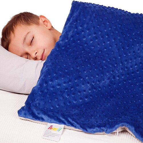Blue Weighted Blanket for Boys - 5 lbs kids blue comfort blankets